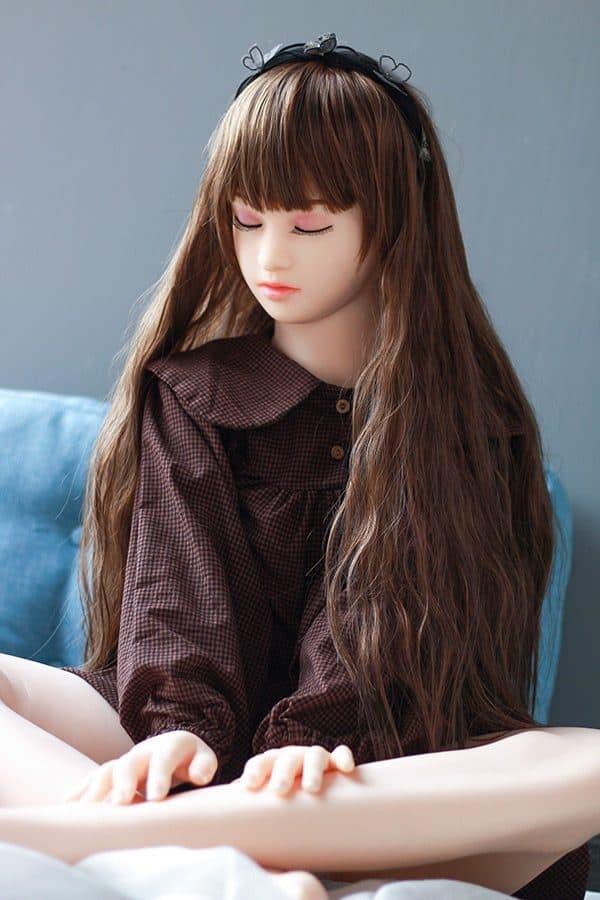 Lifelike A Cup Closed Eyes Girl Sex Doll Rainey 140cm